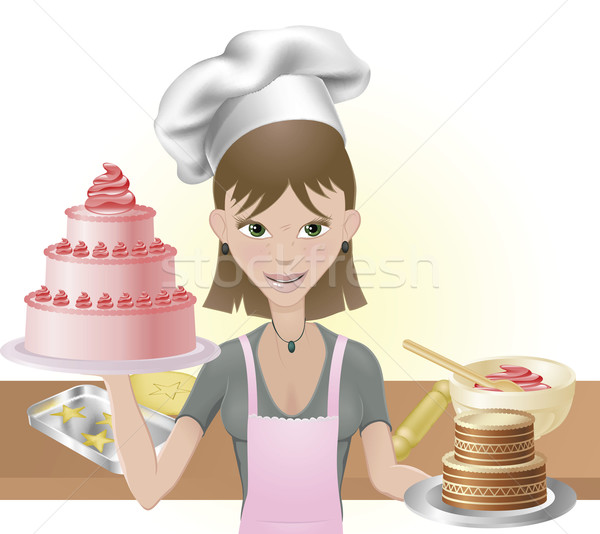 Young woman baking a cakes and cookies Stock photo © Krisdog