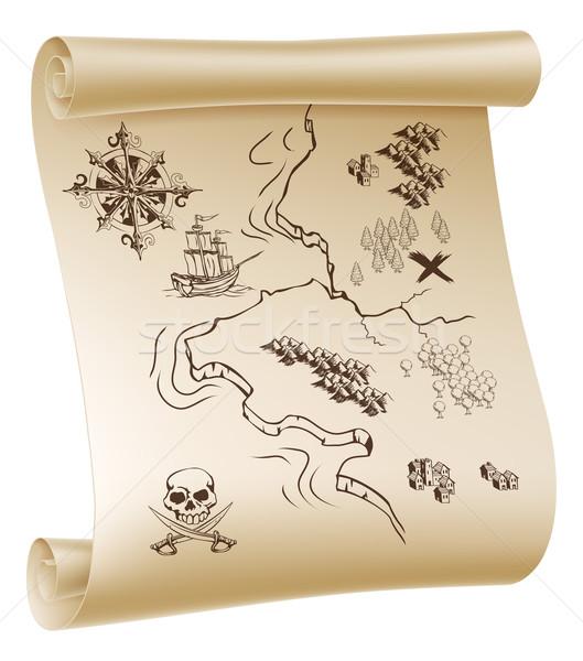 пиратских Карта сокровищ иллюстрация бумаги выделите Сток-фото © Krisdog