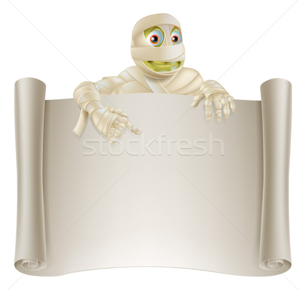 Mummy Halloween Banner Scroll Stock photo © Krisdog