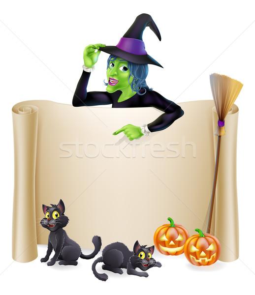 Halloween heks scroll banner teken karakter Stockfoto © Krisdog