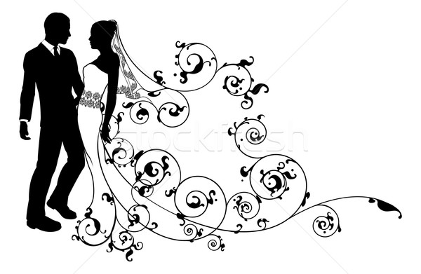 Stock photo: Silhouette bride and groom wedding couple
