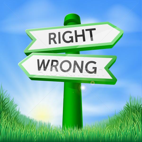 Right or wrong sign in field Stock photo © Krisdog