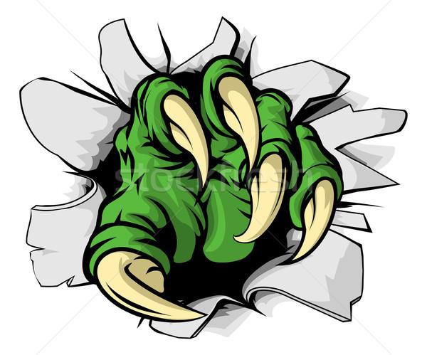 монстр коготь дыра иллюстрация зеленый бумаги Сток-фото © Krisdog