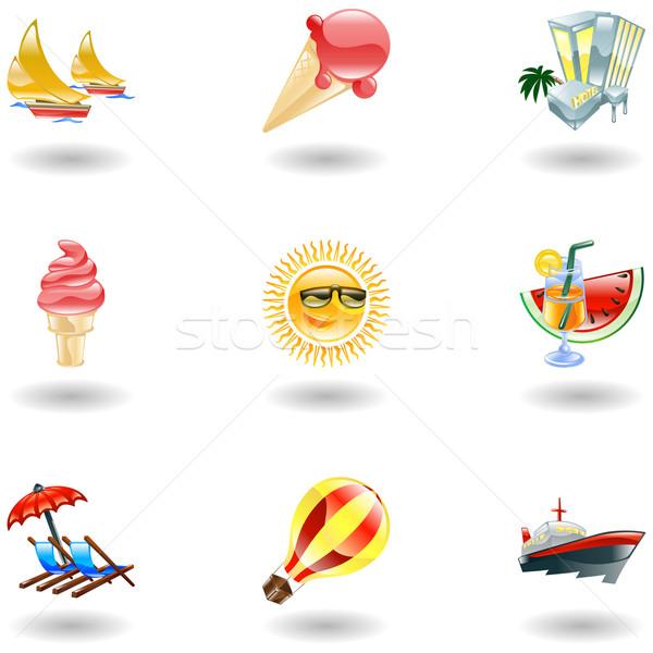 Shiny summer icons Stock photo © Krisdog