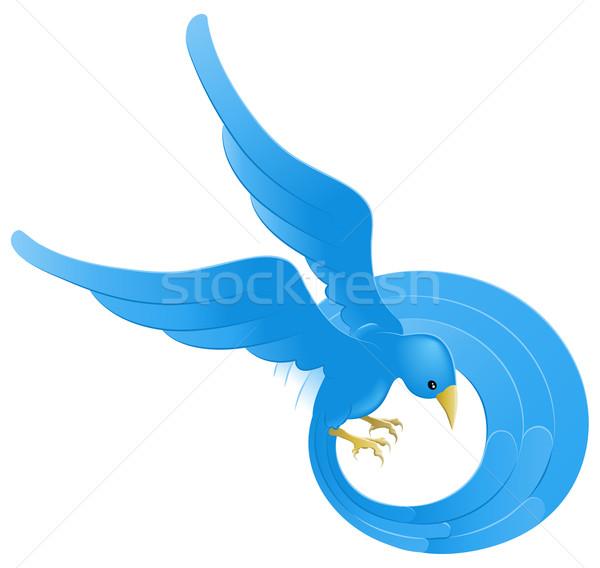 Foto d'archivio: Twitter · blu · uccello · icona · tweet · simbolo