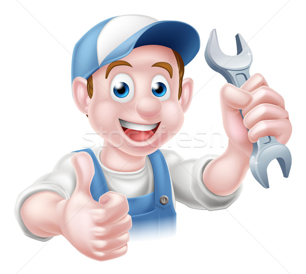 Mechanic Plumber Cartoon Man Stock photo © Krisdog