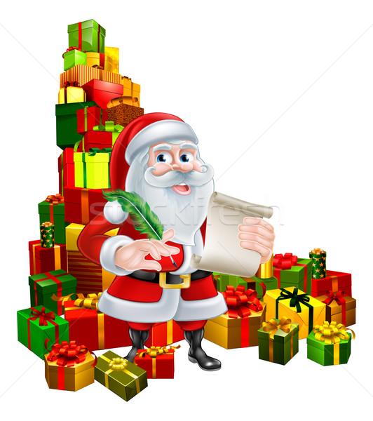 Stock fotó: Mikulás · tekercs · ajándékok · karácsony · rajz · mikulás