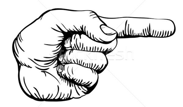 указывая пальца черно белые иллюстрация человека стороны Сток-фото © Krisdog
