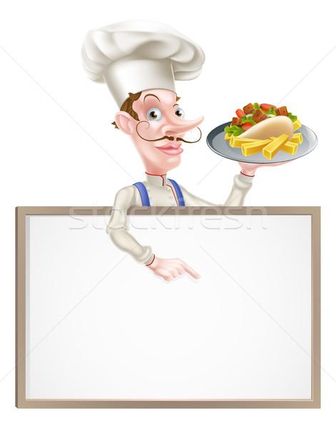 Rajz szakács kebab illusztráció felirat étterem Stock fotó © Krisdog