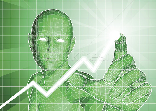 Futuristic figure tracing upwards trend on graph Stock photo © Krisdog