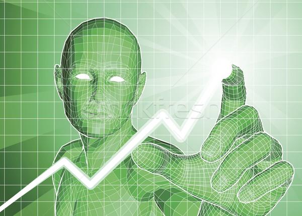 Futuristische cijfer trend grafiek groene licht Stockfoto © Krisdog