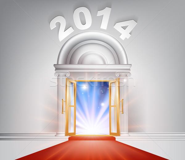 Новый год двери 2014 фантастический белый мрамор Сток-фото © Krisdog