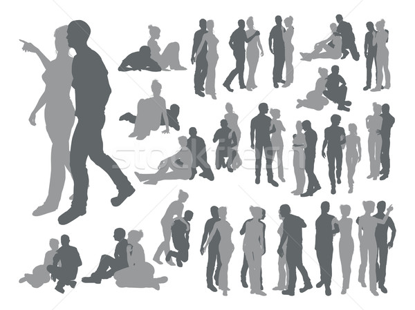 Highly detailed couple silhouettes Stock photo © Krisdog