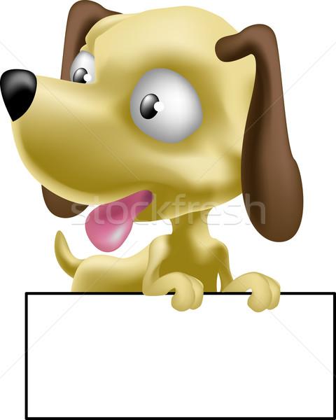 Foto stock: Cão · ilustração · bonitinho · cachorro · assinar · escrever