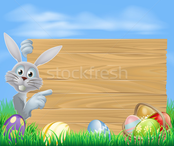 Easter bunny and sign Stock photo © Krisdog
