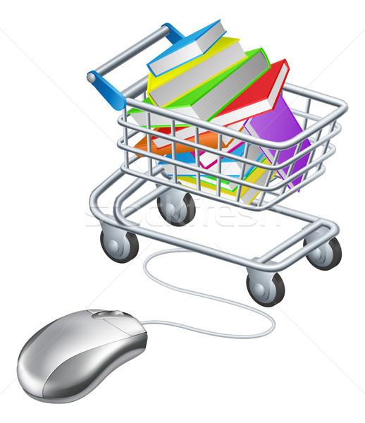 Books mouse internet trolley Stock photo © Krisdog