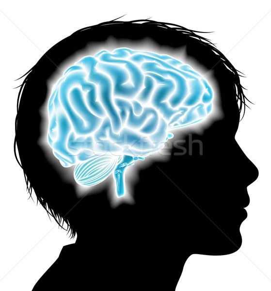 Nino cerebro cabeza silueta Foto stock © Krisdog