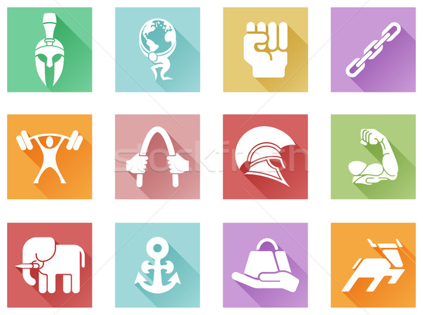 Strength icons flat shadow style Stock photo © Krisdog