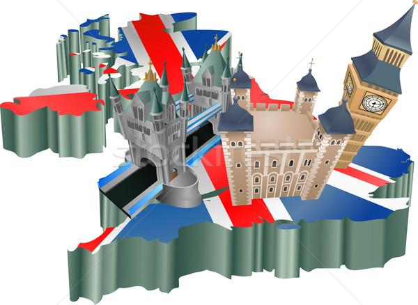 Reino Unido turismo ilustración turísticos mapa vacaciones Foto stock © Krisdog