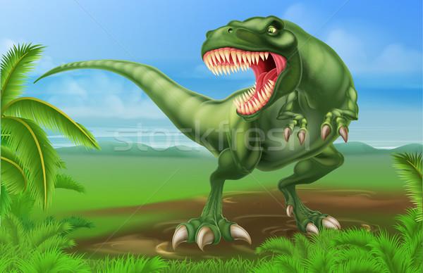 Dinossauro ilustração olhando crianças árvores plantas Foto stock © Krisdog