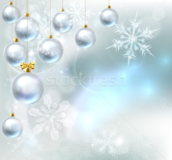 Christmas Baubles Snowflakes Background Stock photo © Krisdog