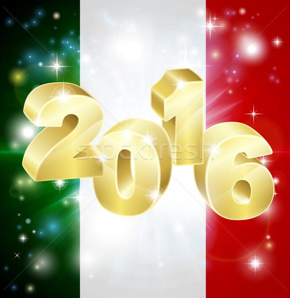 Français pavillon 2016 drapeau italien sur feux d'artifice Photo stock © Krisdog