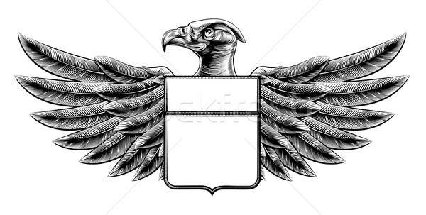 Woodcut Shield Eagle Stock photo © Krisdog