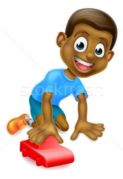Stock fotó: Fiú · játszik · játék · autó · rajz · fiatal