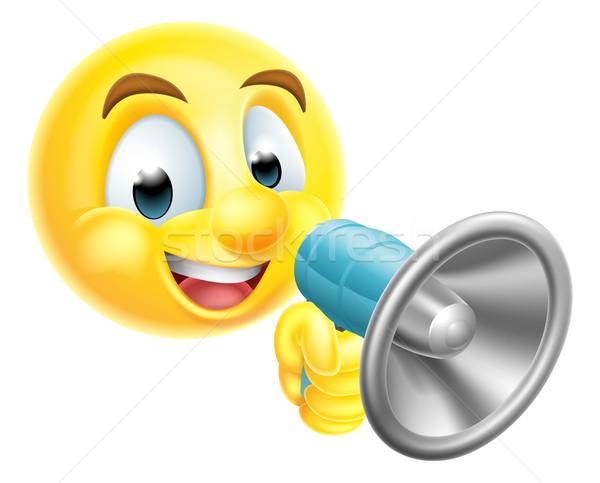 Emoticon Emoji Holding Mega Phone Stock photo © Krisdog