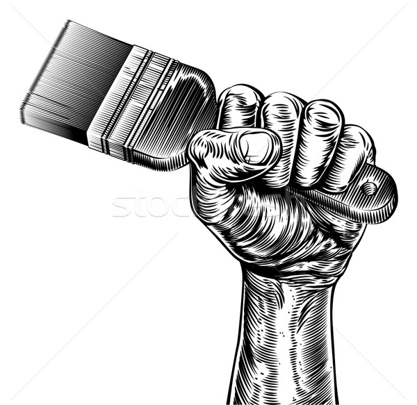 Propaganda Woodcut Fist Hand Holding Paintbrush Stock photo © Krisdog