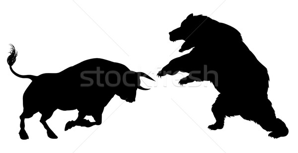 Bear Versus Bull Silhouette Concept Stock photo © Krisdog