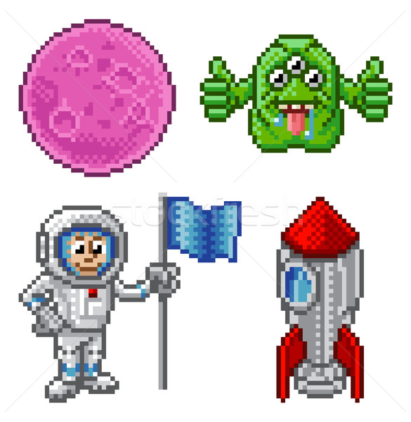 Pixel Art Cartoon Space Set  Stock photo © Krisdog