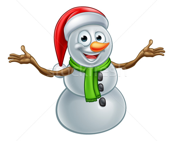 Cartoon Christmas Santa Hat Snowman Stock photo © Krisdog