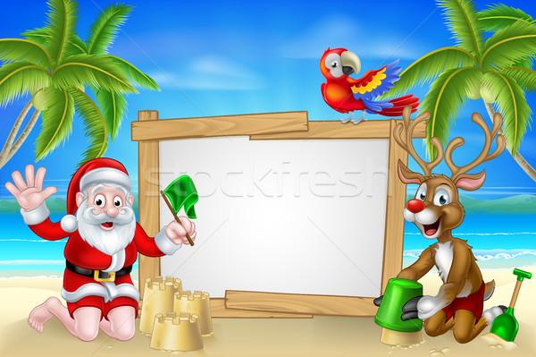 Plaj Noel ren geyiği karikatür noel baba Stok fotoğraf © Krisdog