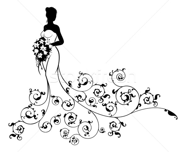 Pattern Wedding Bride Silhouette Stock photo © Krisdog