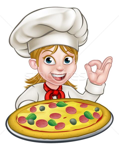 Cartoon Female Woman Pizza Chef Stock photo © Krisdog