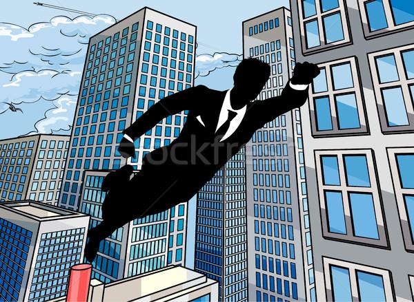 Superhero biznesmen człowiek biznesu pływające powietrza miasta Zdjęcia stock © Krisdog
