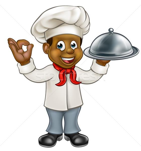 Black Chef Cartoon Character Stock photo © Krisdog