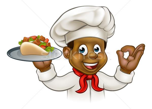 Desenho animado preto chef quibe Foto stock © Krisdog