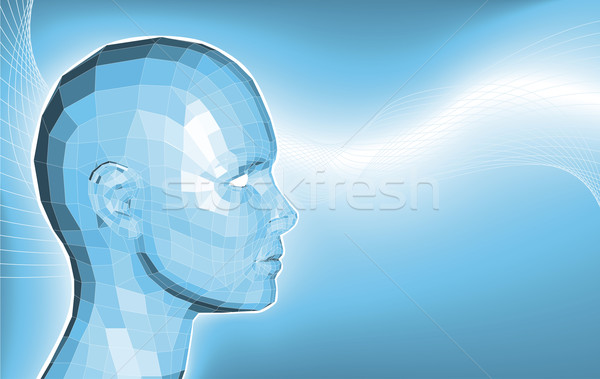 Futuriste 3D visage affaires bleu ordinateur Photo stock © Krisdog