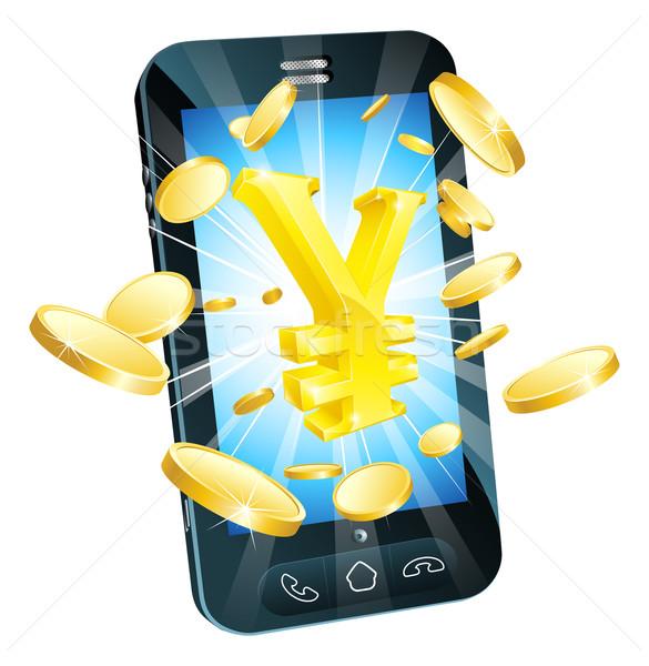 Yen soldi telefono illustrazione mobile cellulare Foto d'archivio © Krisdog