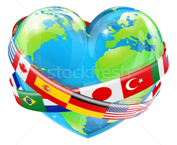 Coração globo bandeiras ilustração mundo Foto stock © Krisdog