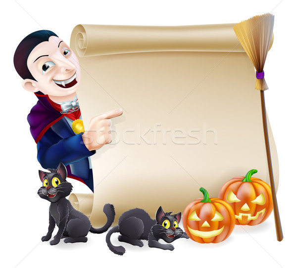 Halloween Vampire Dracula Scroll Stock photo © Krisdog