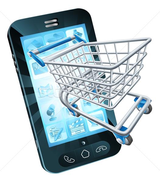 Carrello cellulare battenti fuori shopping online Foto d'archivio © Krisdog