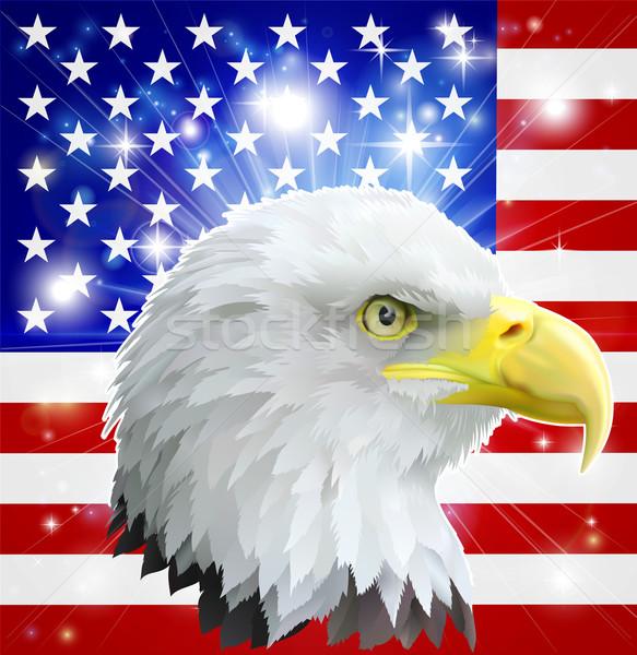 Stock fotó: Amerikai · sas · zászló · Amerika · szeretet · szív