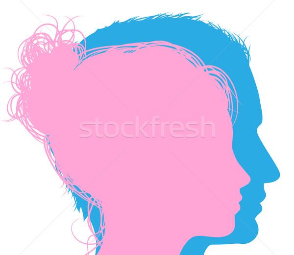 Man and woman faces silhouettes Stock photo © Krisdog
