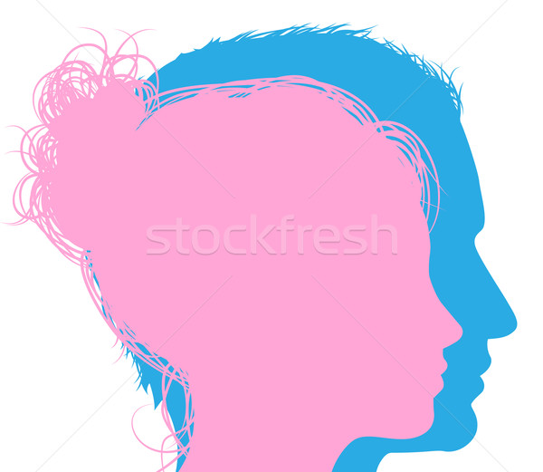 Man And Woman Faces Silhouettes Vector Illustration C Christos Georghiou Krisdog 3956163 Stockfresh