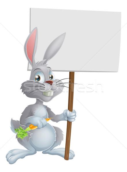 White Easter bunny rabbit sign Stock photo © Krisdog