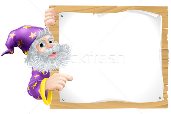 Wizard and wooden sign Stock photo © Krisdog