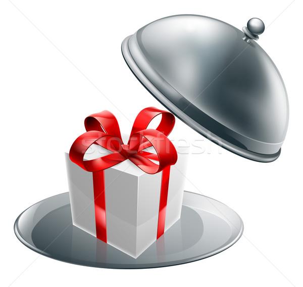 Gift silver tray luxury platter Stock photo © Krisdog